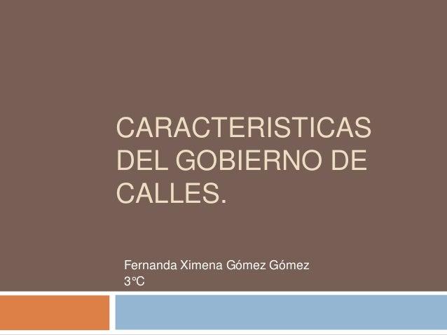 CARACTERISTICAS DEL GOBIERNO DE CALLES. Fernanda Ximena Gómez Gómez 3°C