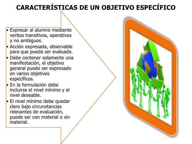 CARACTERÍSTICAS DE UN OBJETIVO ESPECÍFICO<br />