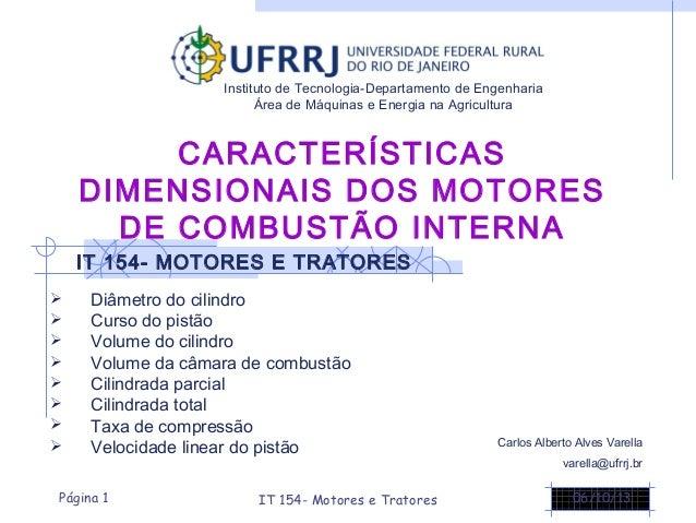 CARACTERÍSTICAS DIMENSIONAIS DOS MOTORES DE COMBUSTÃO INTERNA  Diâmetro do cilindro  Curso do pistão  Volume do cilindr...