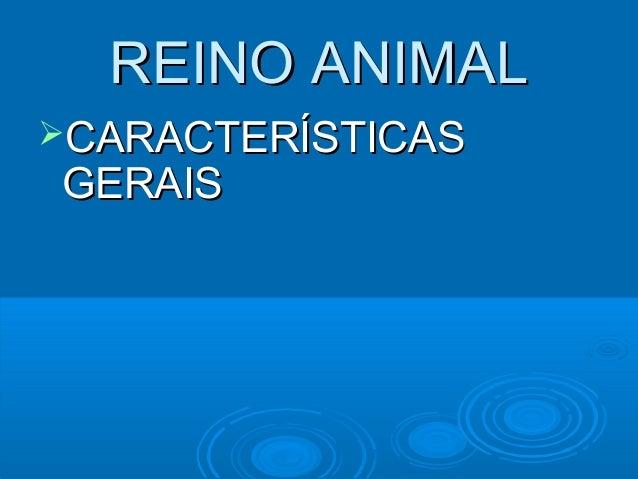 REINO ANIMALCARACTERÍSTICASGERAIS