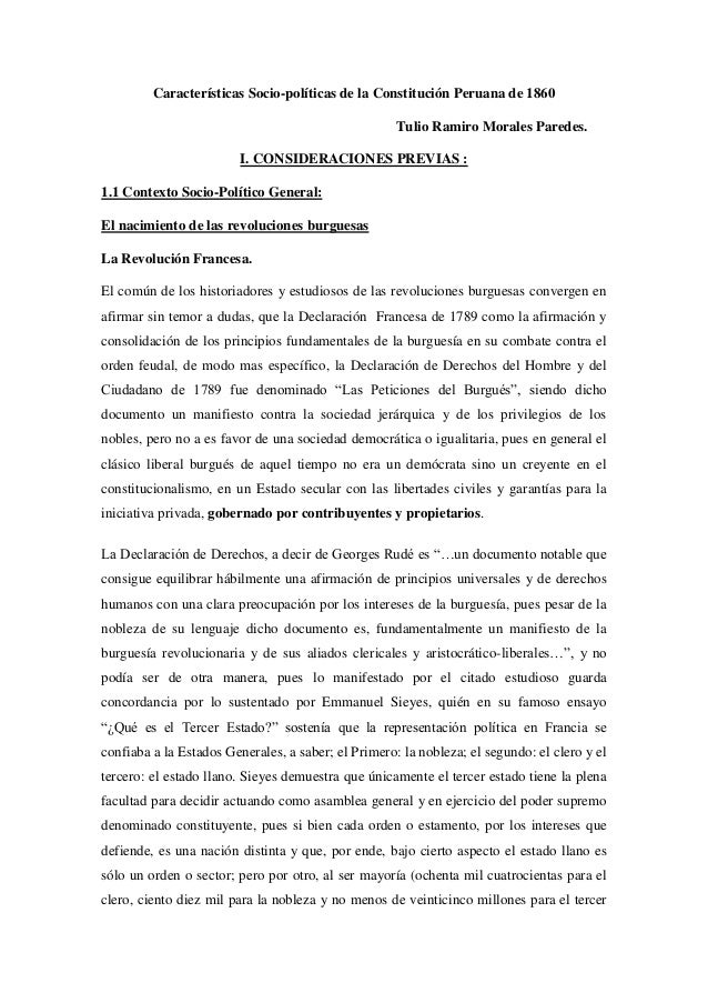 Características Socio-políticas de la Constitución Peruana de 1860Tulio Ramiro Morales Paredes.I. CONSIDERACIONES PREVIAS ...