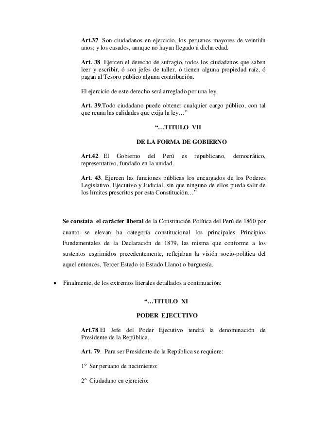 Art.37. Son ciudadanos en ejercicio, los peruanos mayores de veintiúnaños; y los casados, aunque no hayan llegado á dicha ...