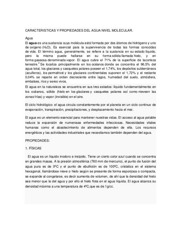 Caracteristicas y propiedades del agua nivel molecular for Marmol caracteristicas y usos