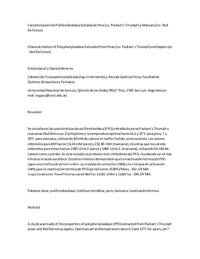 Caracterizaciónde PolifenoloxidasaExtraídade Pera(cv.Packam´s Triumph) yManzana (cv. Red Delicious) Characterizationof Pol...