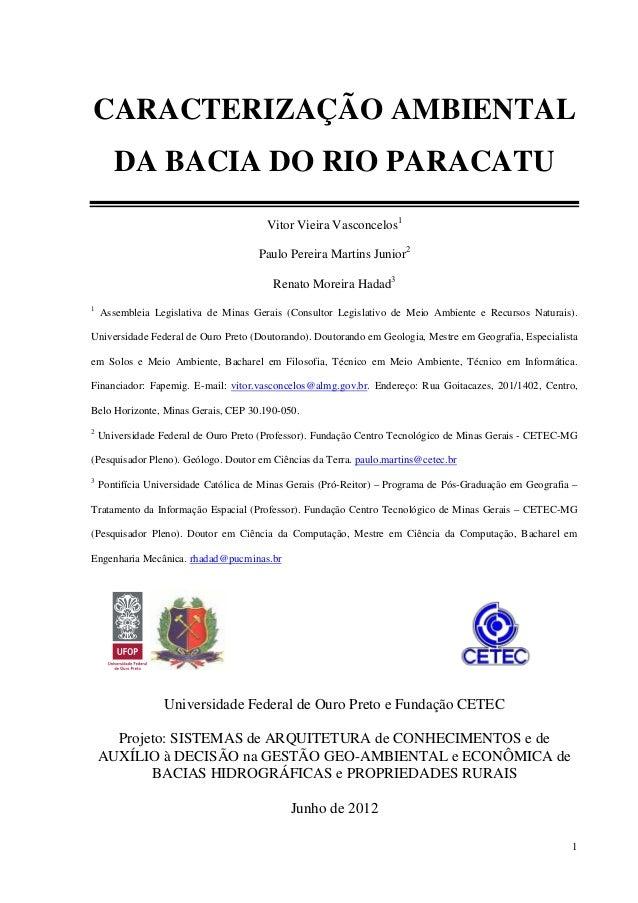 1CARACTERIZAÇÃO AMBIENTALDA BACIA DO RIO PARACATUVitor Vieira Vasconcelos1Paulo Pereira Martins Junior2Renato Moreira Hada...