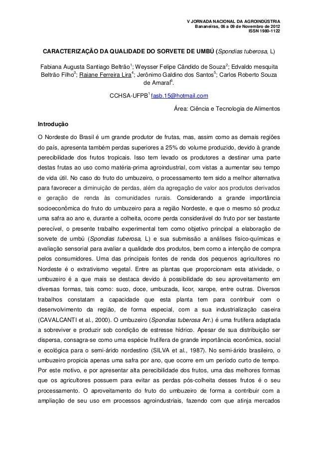 V JORNADA NACIONAL DA AGROINDÚSTRIA                                                           Bananeiras, 06 a 09 de Novem...