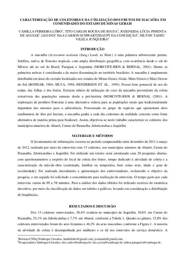 CARACTERIZAÇÃO DE COLETORES E DA UTILIZAÇÃO DOS FRUTOS DE MACAÚBA EM COMUNIDADES DO ESTADO DE MINAS GERAIS CAMILLA FERREIR...