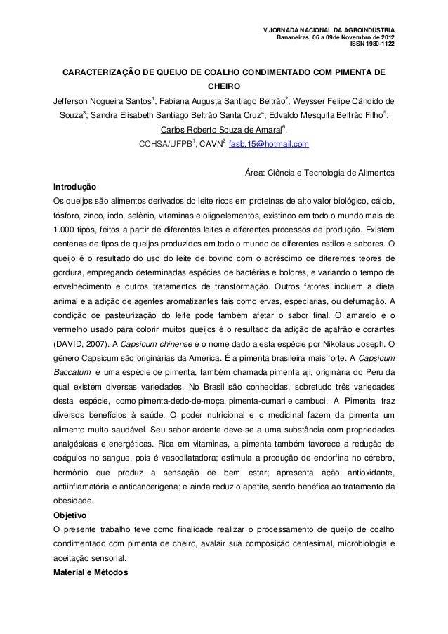 V JORNADA NACIONAL DA AGROINDÚSTRIA                                                              Bananeiras, 06 a 09de Nov...