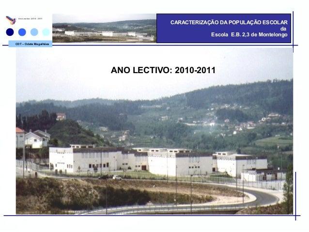 CDT – Odete Magalhães CARACTERIZAÇÃO DA POPULAÇÃO ESCOLAR da Escola E.B. 2,3 de Montelongo Ano Lectivo: 2010 - 2011 ANO LE...