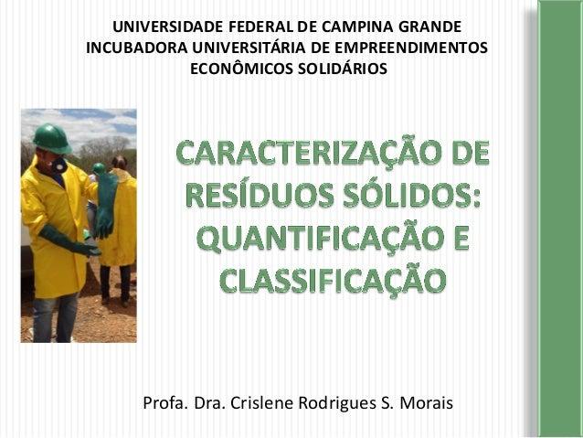 UNIVERSIDADE FEDERAL DE CAMPINA GRANDE INCUBADORA UNIVERSITÁRIA DE EMPREENDIMENTOS ECONÔMICOS SOLIDÁRIOS Profa. Dra. Crisl...