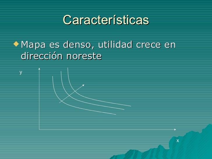 Características <ul><li>Mapa es denso, utilidad crece en dirección noreste </li></ul>x y