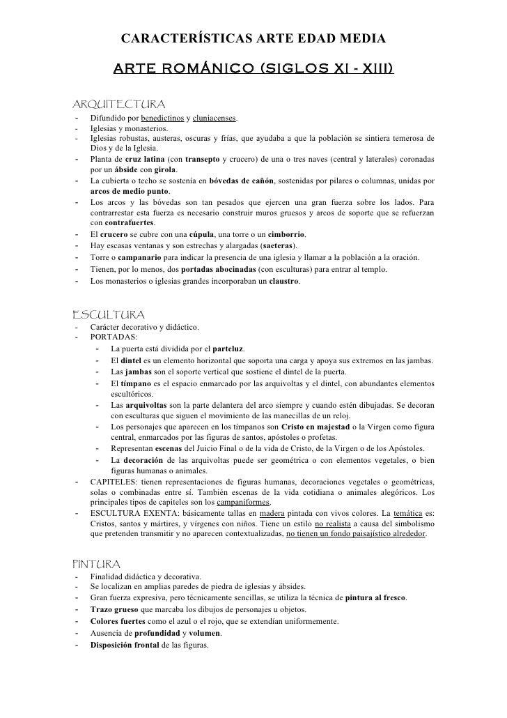 Características Generales del Arte Medieval
