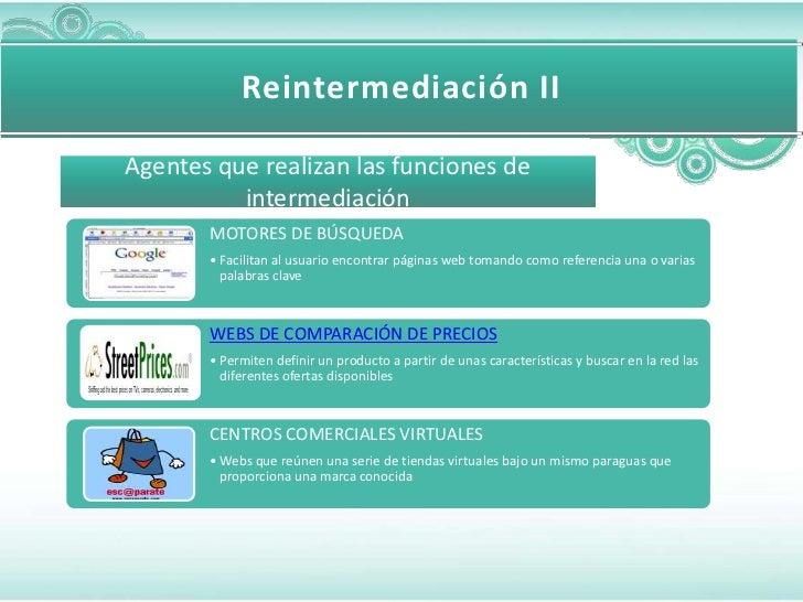 Reintermediación IIAgentes que realizan las funciones de          intermediación       MOTORES DE BÚSQUEDA       • Facilit...