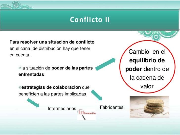 Conflicto IIPara resolver una situación de conflictoen el canal de distribución hay que teneren cuenta:                   ...