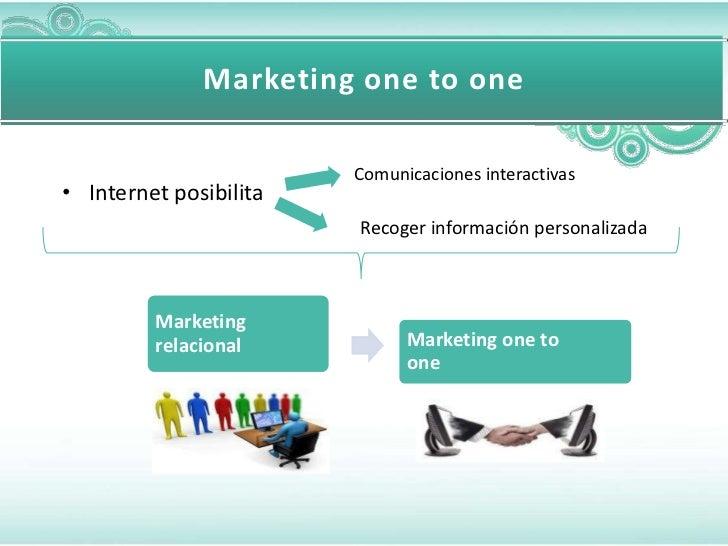 Marketing one to one                        Comunicaciones interactivas• Internet posibilita                        Recoge...