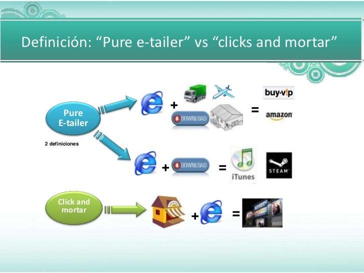 """Definición: """"Pure e-tailer"""" vs """"clicks and mortar""""                          +               =         Pure        E-tailer..."""