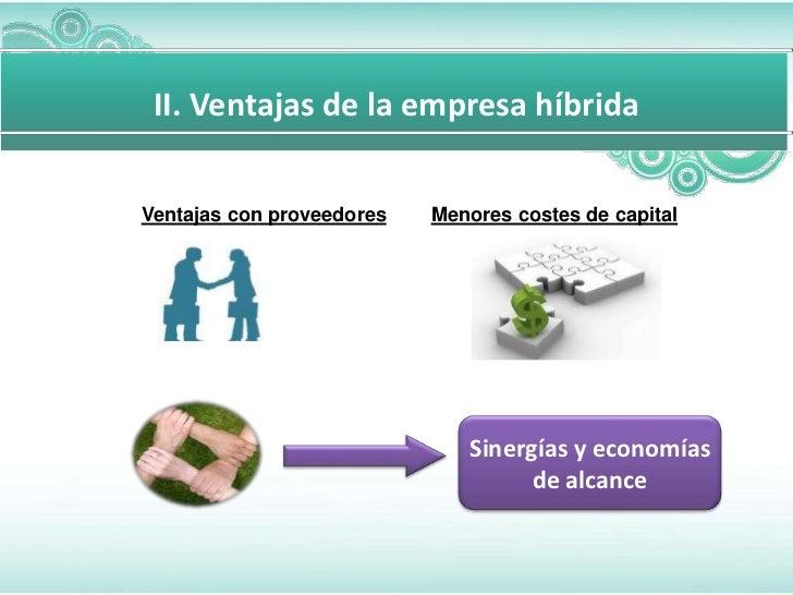 Para diapositivas mas complicada    II. Ventajas de la empresa híbrida   Ventajas con proveedores   Menores costes de capi...