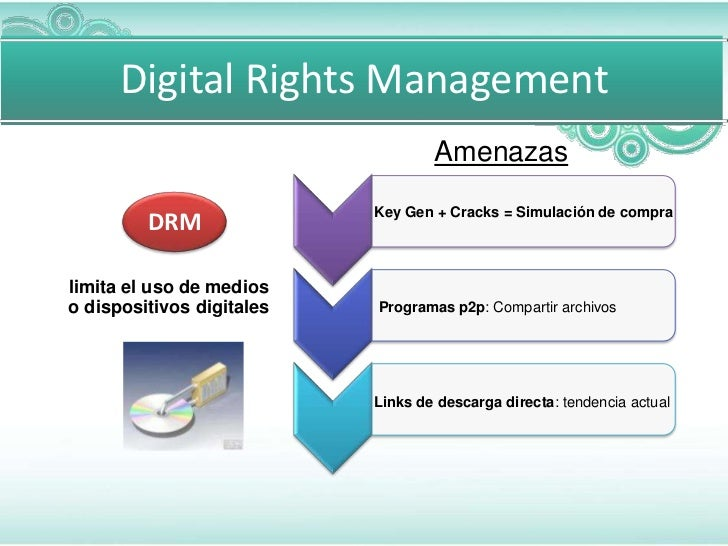 Digital Rights Management                                   Amenazas                           Key Gen + Cracks = Simulaci...