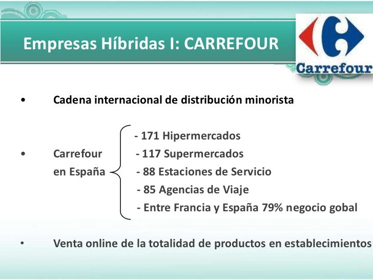 Empresas Híbridas I: CARREFOUR•   Cadena internacional de distribución minorista                   - 171 Hipermercados•   ...