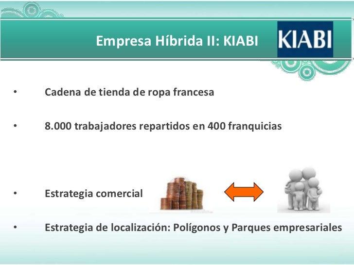 Empresa Híbrida II: KIABI•   Cadena de tienda de ropa francesa•   8.000 trabajadores repartidos en 400 franquicias•   Estr...