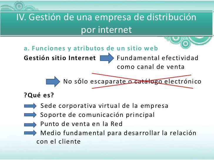 IV. Gestión de una empresa de distribución                por internet a. Funciones y atributos de un sitio web Gestión si...