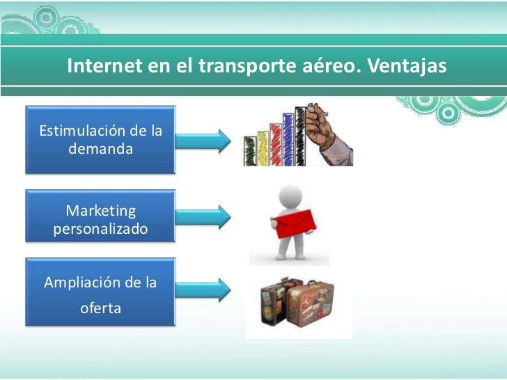Internet en el transporte aéreo. VentajasEstimulación de la    demanda   Marketing  personalizadoAmpliación de la    oferta