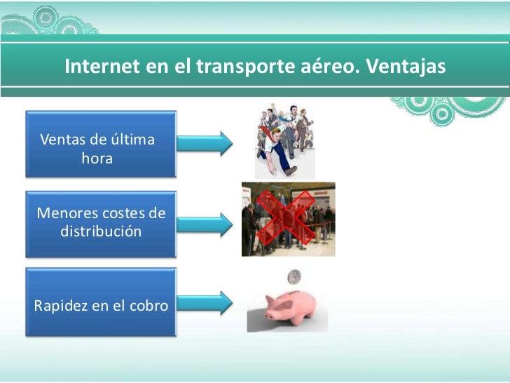 Internet en el transporte aéreo. VentajasVentas de última     horaMenores costes de  distribuciónRapidez en el cobro