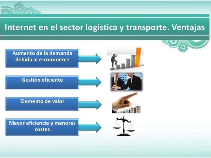 Internet en el sector logística y transporte. Ventajas  Aumento de la demanda   debida al e-commerce      Gestión eficient...
