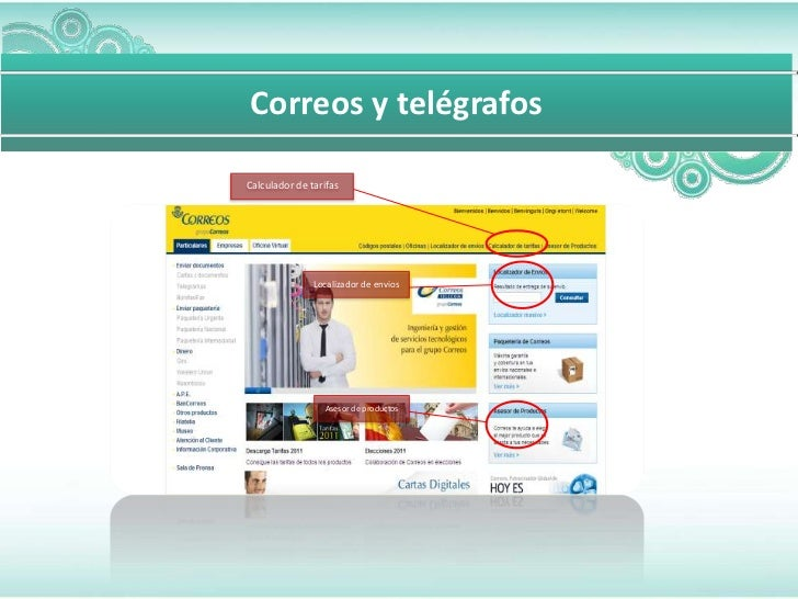 Correos y telégrafosCalculador de tarifas               Localizador de envios                 Asesor de productos