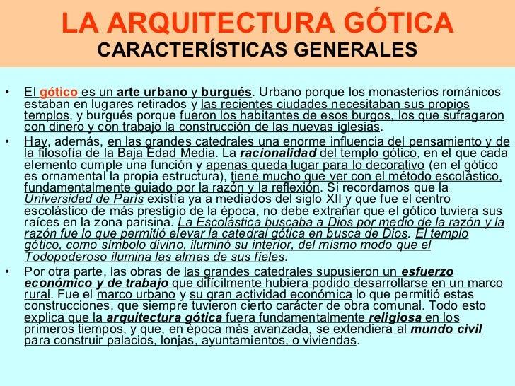 caracter sticas de la arquitectura g tica