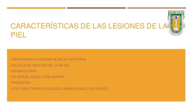 CARACTERÍSTICAS DE LAS LESIONES DE LA PIEL UNIVERSIDAD AUTÓNOMA DE BAJA CALIFORNIA ESCUELA DE CIENCIAS DE LA SALUD DERMATO...