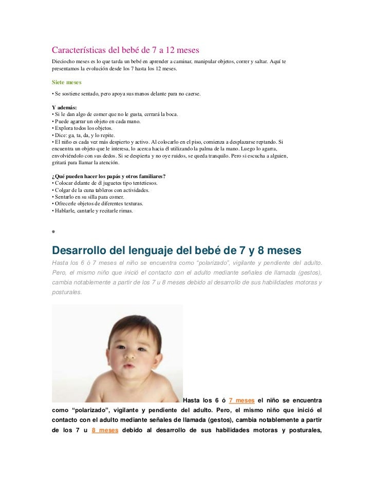Características del bebé de 7 a 12 mesesDieciocho meses es lo que tarda un bebé en aprender a caminar, manipular objetos, ...