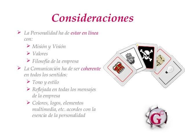 Consideraciones La Personalidad ha de estar en línea  con:    Misión y Visión    Valores    Filosofía de la empresa L...
