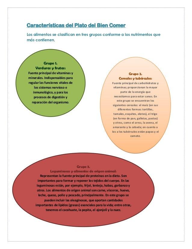 Características del Plato del Bien ComerLos alimentos se clasifican en tres grupos conforme a los nutrimentos quemás conti...