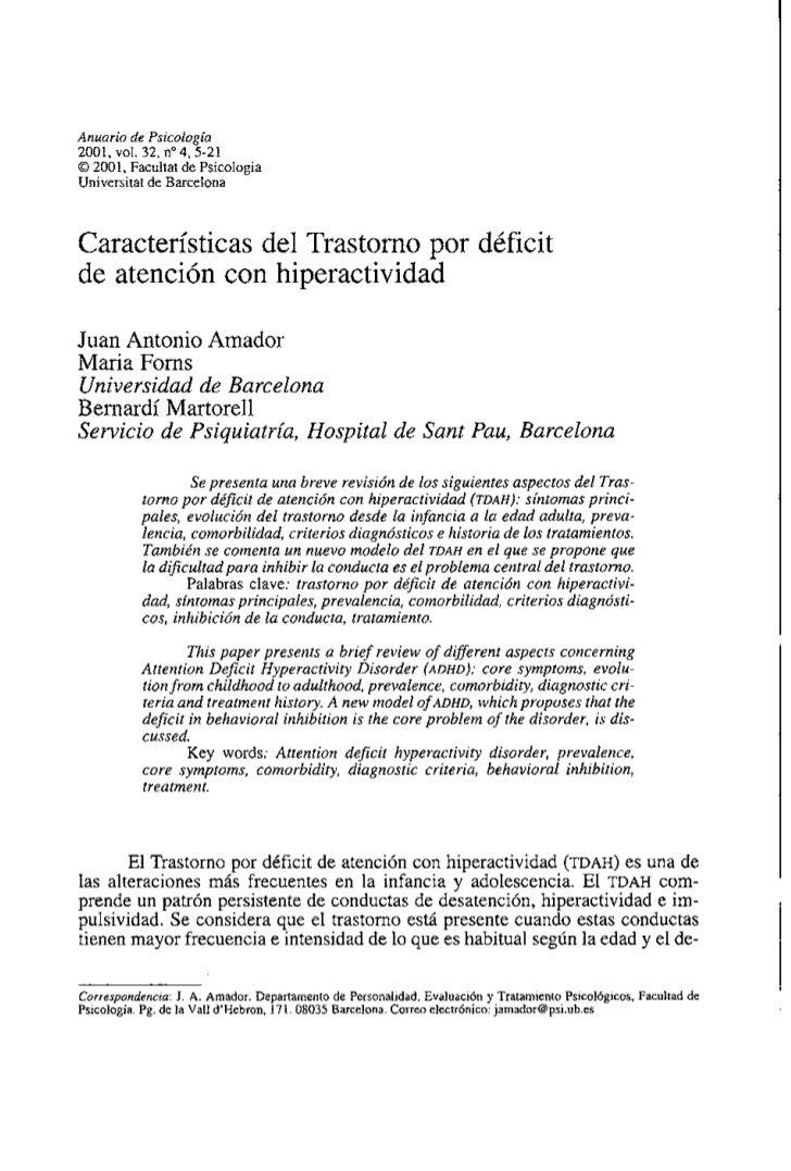Anuario de Psicologia2001, vol. 32, no 4,5-21O 2001, Facultat de PsicologiaUniversitat de BarcelonaCaracterísticas del Tra...