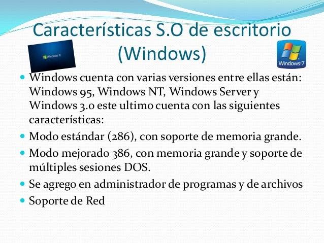 Caracter sticas de sistemas operativos for Escritorio ergonomico caracteristicas