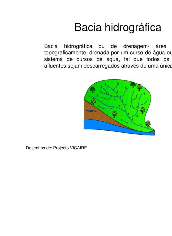 Bacia hidrográfica        Bacia hidrográfica ou de drenagem- área definida        topograficamente, drenada por um curso d...