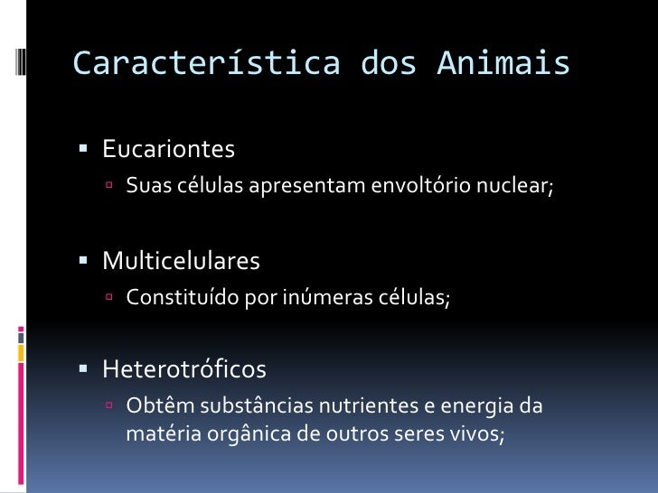 Características gerais dos animais Slide 3
