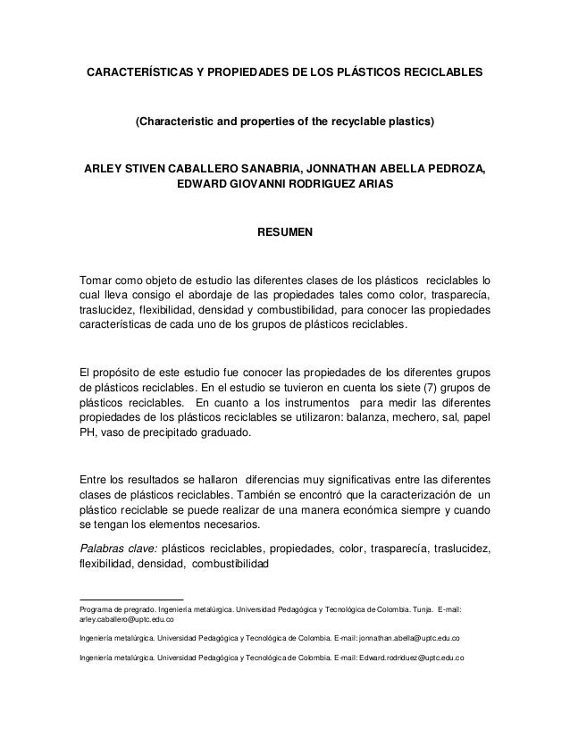 CARACTERÍSTICAS Y PROPIEDADES DE LOS PLÁSTICOS RECICLABLES (Characteristic and properties of the recyclable plastics) ARLE...