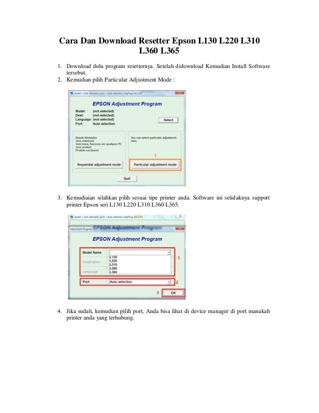 Cara Dan Download Resetter Epson L130 L220 L310 L360 L365