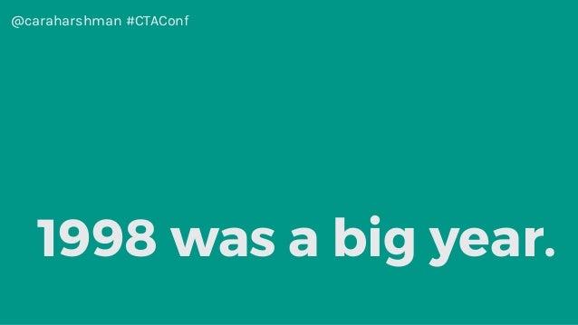 @caraharshman #CTAConf 1998 was a big year.