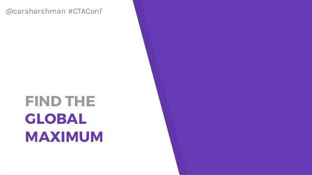 @caraharshman #CTAConf FIND THE GLOBAL MAXIMUM