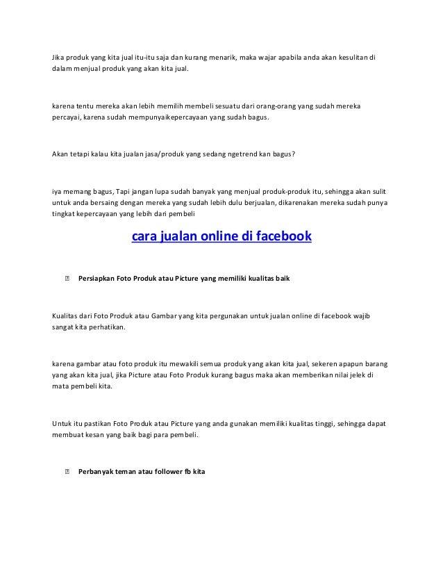 Cara jualan online di facebook Slide 2