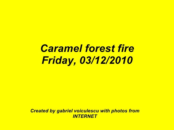 Caramel forest fire Friday, 03/12/2010 Created by gabriel voiculescu with photos from INTERNET