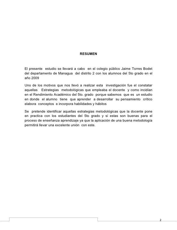 RESUMENEl presente estudio se llevará a cabo en el colegio público Jaime Torres Bodetdel departamento de Managua del distr...