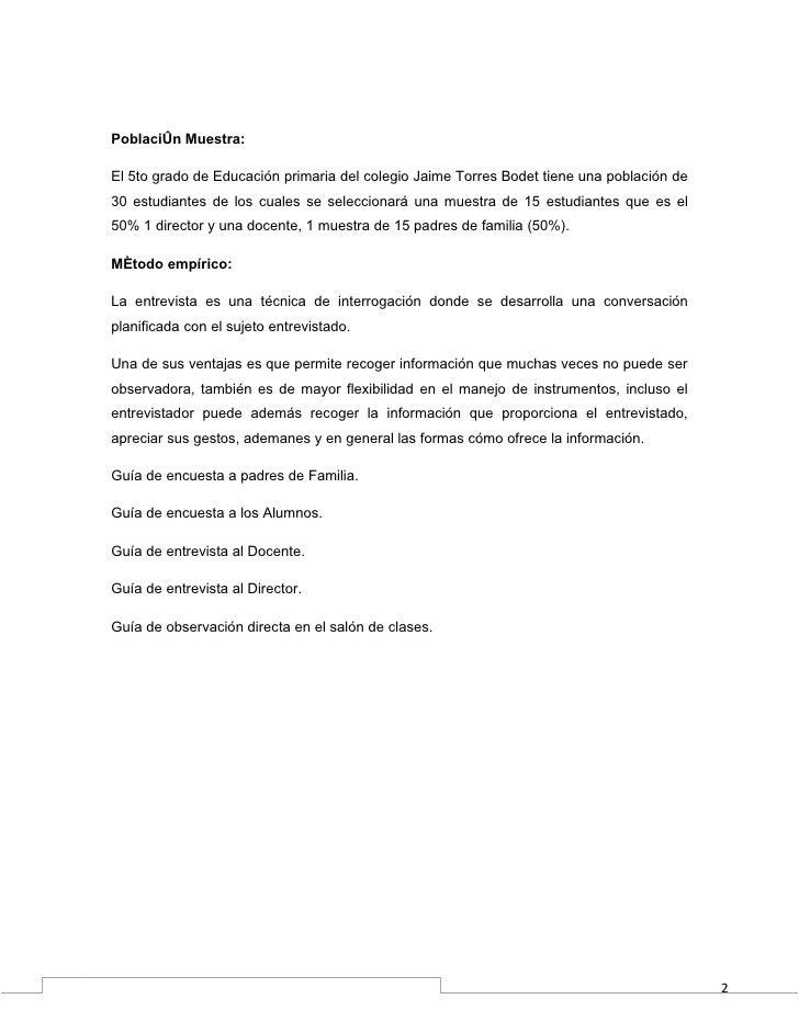 Población Muestra:El 5to grado de Educación primaria del colegio Jaime Torres Bodet tiene una población de30 estudiantes d...