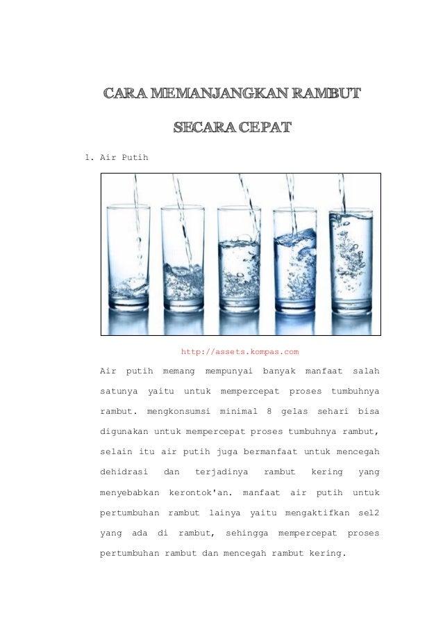 CARA MEMANJANGKAN RAMBUT SECARA CEPAT 1. Air Putih  http://assets.kompas.com  Air  putih  memang  mempunyai  satunya  yait...