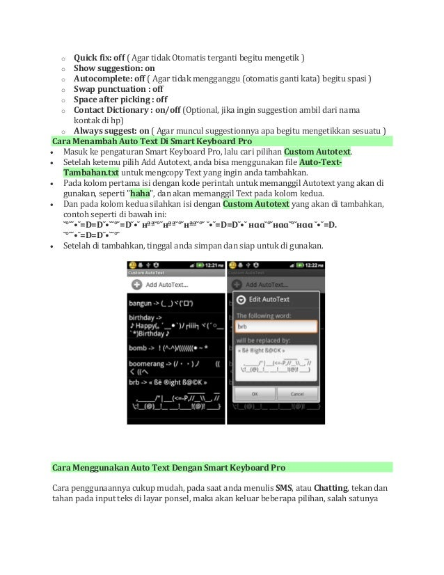 Cara membuat auto text di android dengan smart keyboard pro