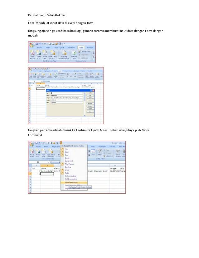 Di buat oleh : Sidik AbdullahCara Membuat input data di excel dengan formLangsung aja yah ga usah basa basi lagi, gimana c...