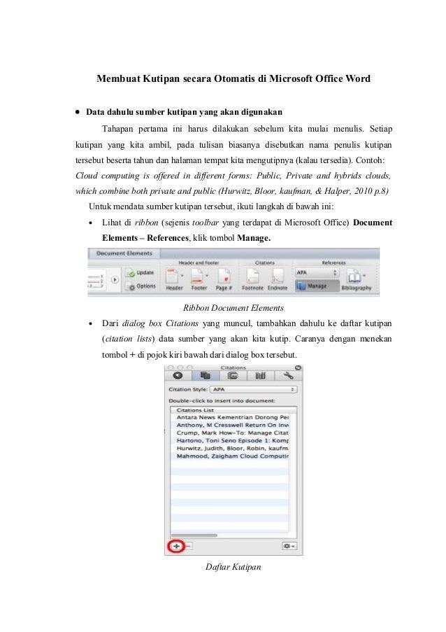 Cara Membuat Kutipan dan Daftar Pustaka Otomatis di Ms. Word